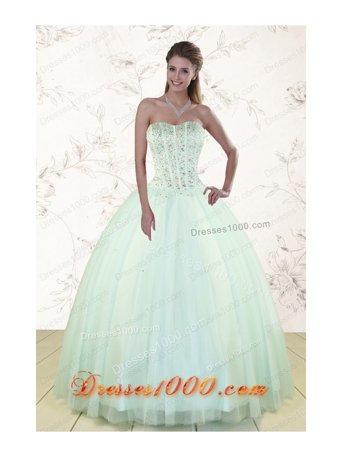2015 Cheap Light Blue Sweet 15 Dresses with Beading