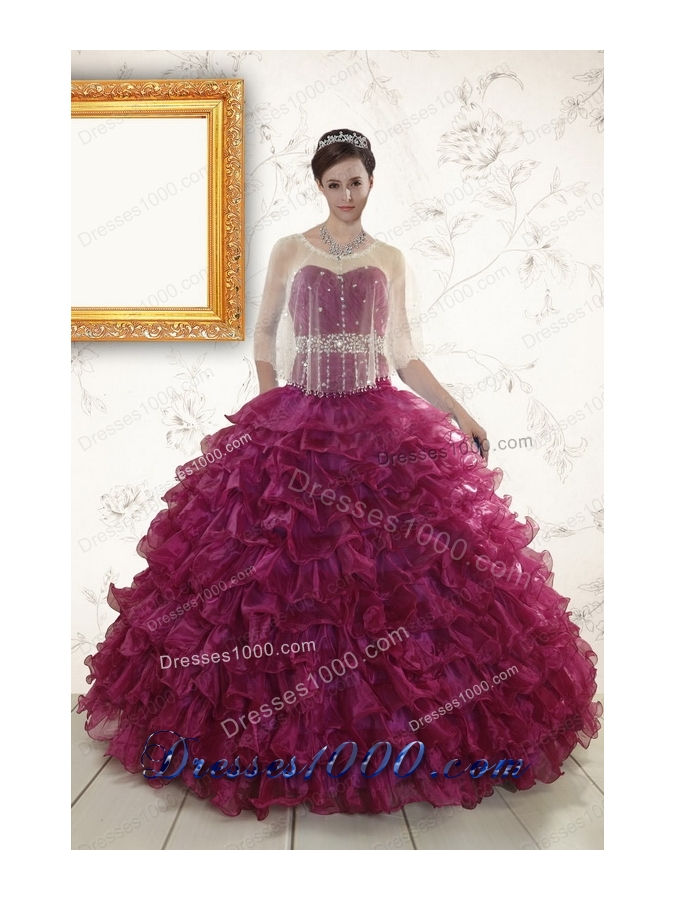 2015 New Style Sweetheart Quinceanera Gown with Beading and Ruffles