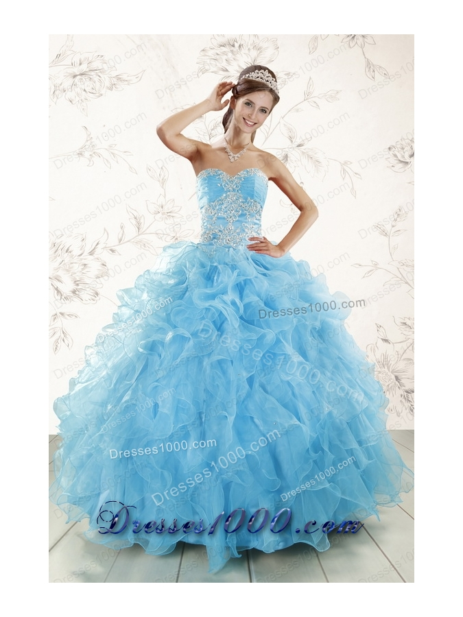 Cheap Aqua Blue Ball Gown Sweetheart Beading Sweet 16 Dresses