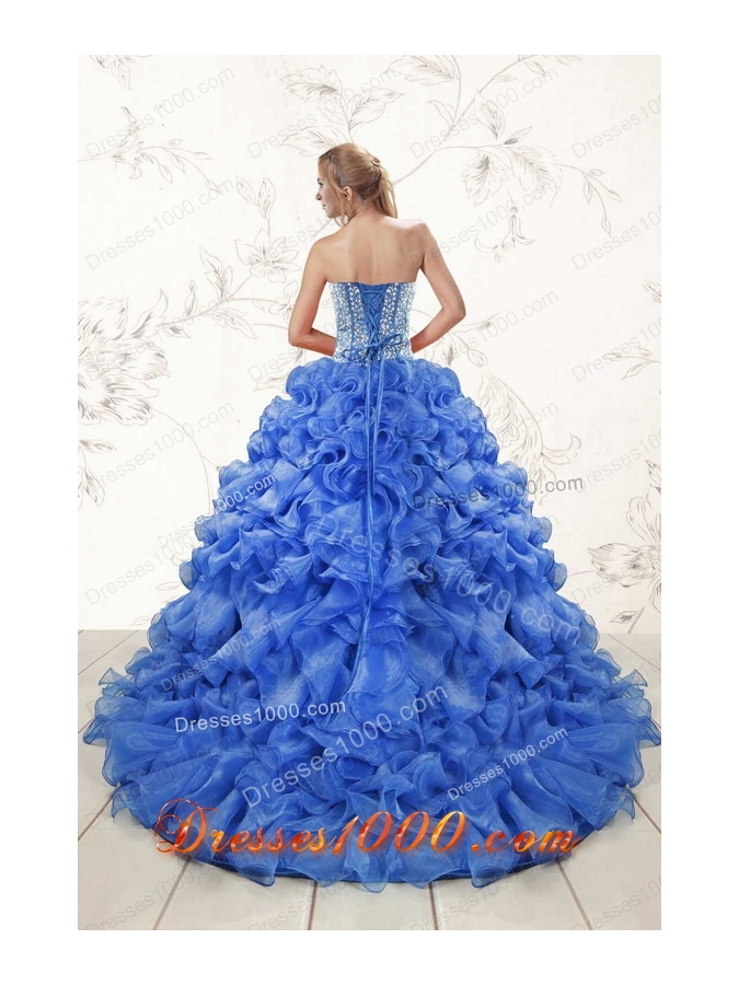 Cheap Beaded Royal Blue Sweet 15 Dresses with Sweep Train
