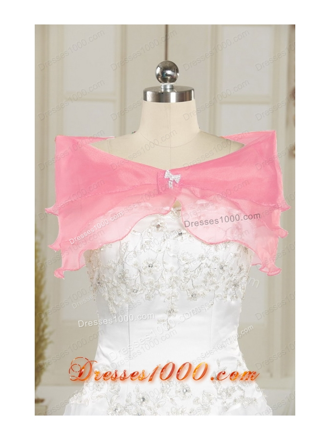 Cheap One Shoulder Beading Light Pink Quinceanera Dresses for 2015