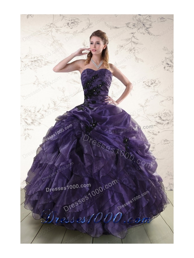 Cheap Sweetheart Appliques Purple Quinceanera Dress for 2015
