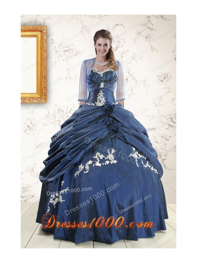 Cheap Sweetheart Navy Blue Quinceanera Dresses with Wraps