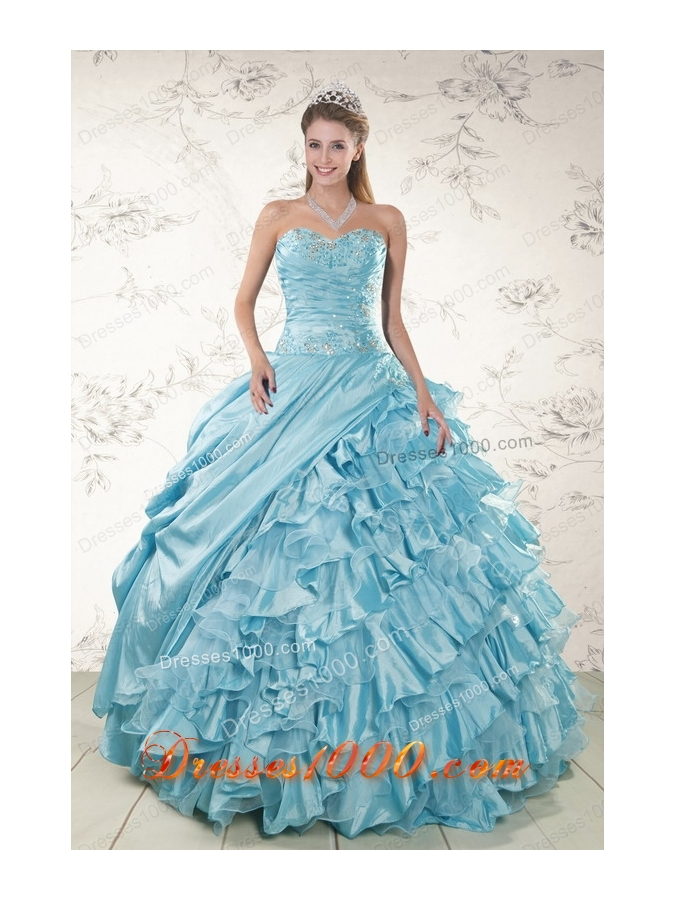 Fashionable Beading Ruffles Aqua Blue Organza Quinceanera Dresses for 2015