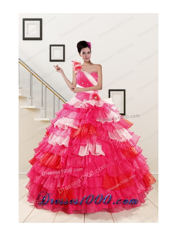 Most Popular One Shoulder Pretty Quinceanera Gowns in Multi Color