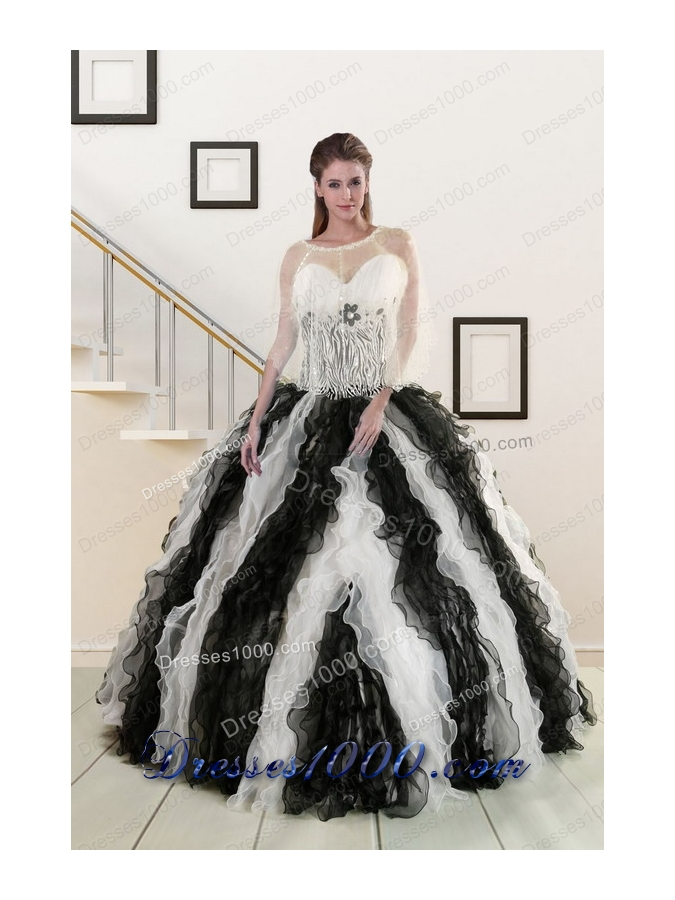 2015 New Style Black and White Quinceanera Dresses with Zebra and Ruffles