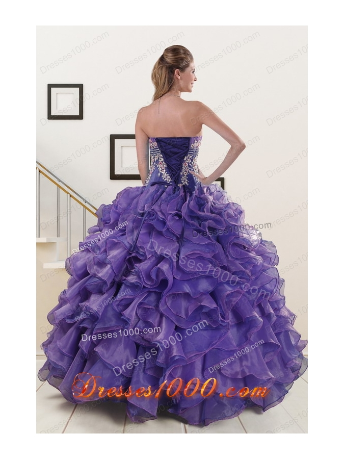 2015 New Style Purple Sweet 15 Dresses with Embroidery and Ruffles