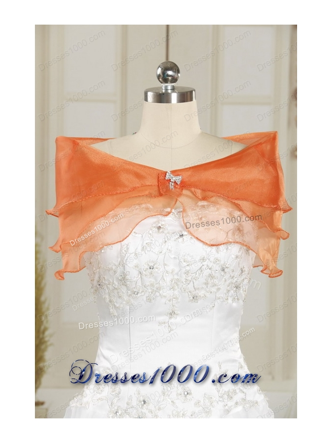2015 New Style Strapless Orange Quinceanera Dresses with Beading and Appliques