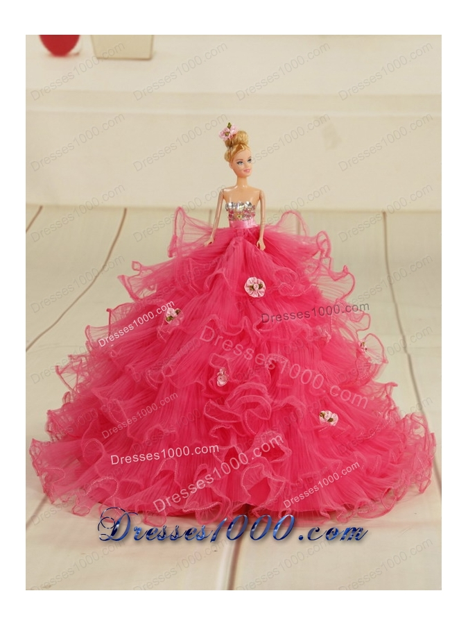 2015 New Style Sweetheart Rose Pink Quinceanera Dresses with Sequins and Appliques