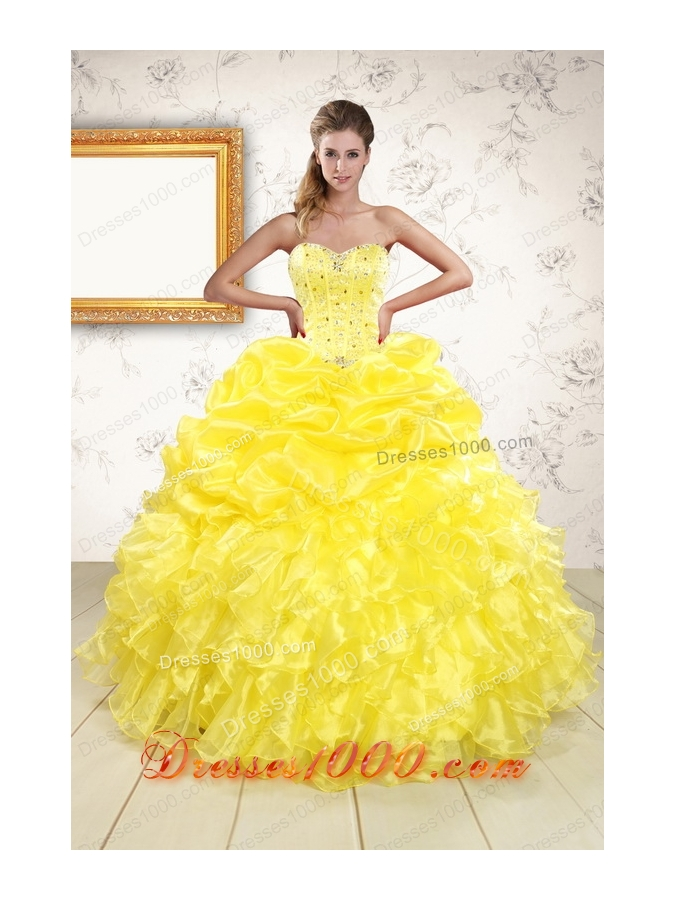 New Style Sweetheart Yellow Quinceanera Dresses with Beading