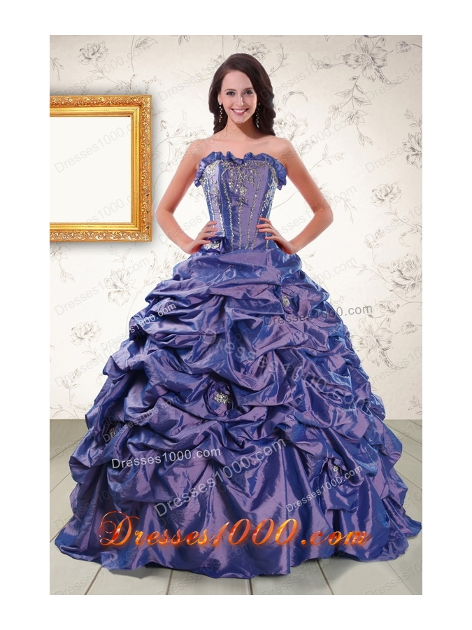Most Popular Beaded and Pick ups Purple Quinceanera Gowns with Brush Train