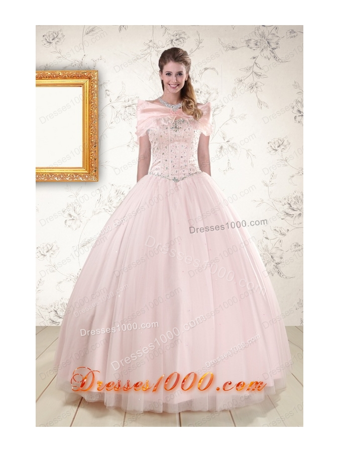 Most Popular Beading Ball Gown Quinceanera Gowns in Light Pink