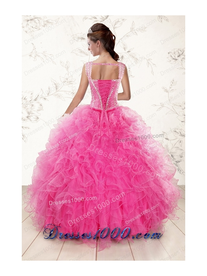 most popular Straps Hot Pink Quinceanera Gowns with Beading