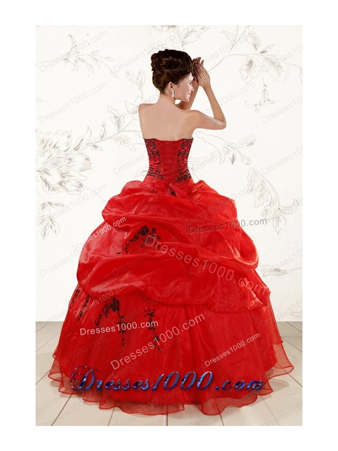 most popular Sweetheart Red Quinceanera Gowns With Applique for 2015