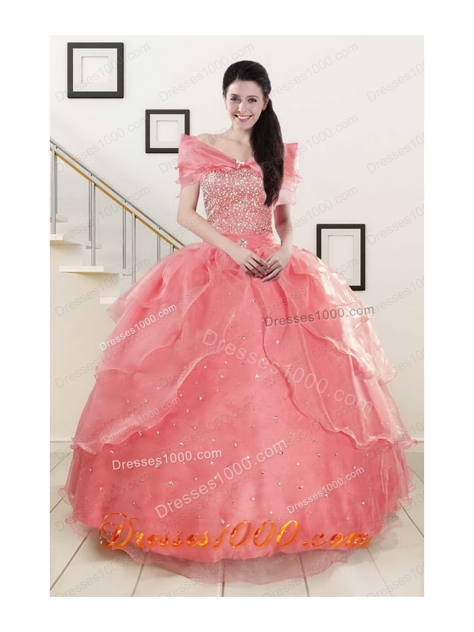 fashionable Sweetheart Beading Appliques Ball Gown Sweet 16 Dresses