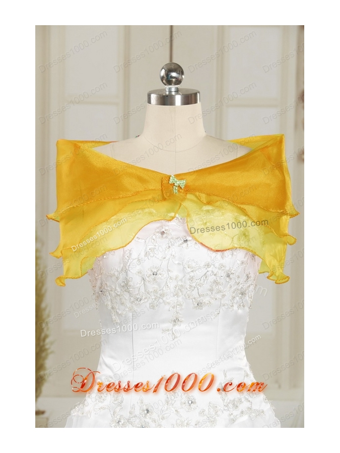 Elegant Yellow 2015 Quinceanera Dresses with Strapless