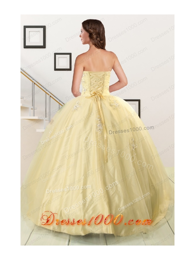 Fashionable Appliques Quinceanera Dress in Light Yellow For 2015