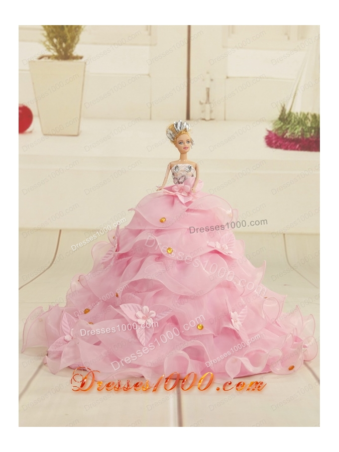 2015 Appliques and Ruffles Lilac Princesita Dress with Hand Made Flowers