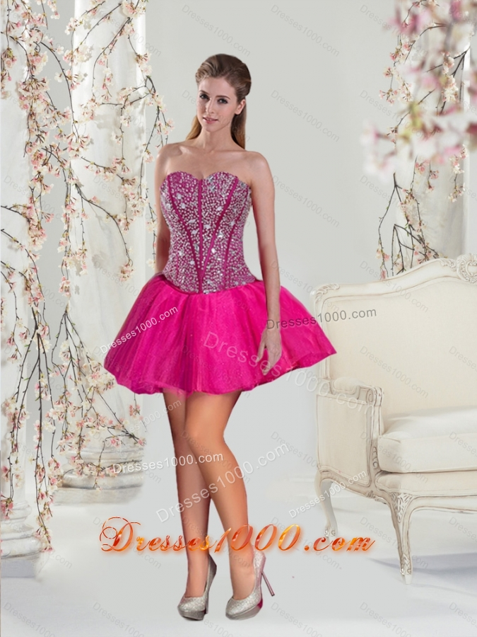 2015 Beautiful and Detachable Hot Pink Sweet 15 Dresses with Beading and Ruffles
