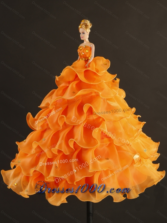 2015 Designer and Detachable Yellow and Orange Sweet 16 Dresses with Beading and Ruffles