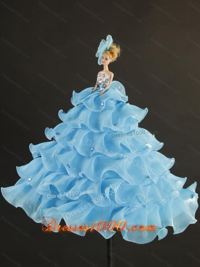 Designer Beading and Ruffles Quinceanera Dresses in Aqua Blue