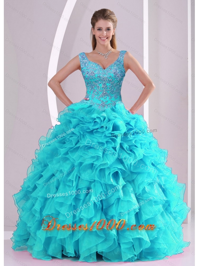 Designer Beading and Ruffles Quinceanera Dresses in Aqua Blue
