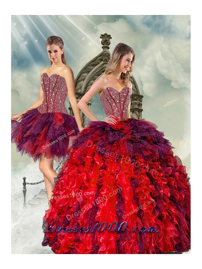 Detachable and Designer Beading and Ruffles Multi Color Quince Dresses for 2015