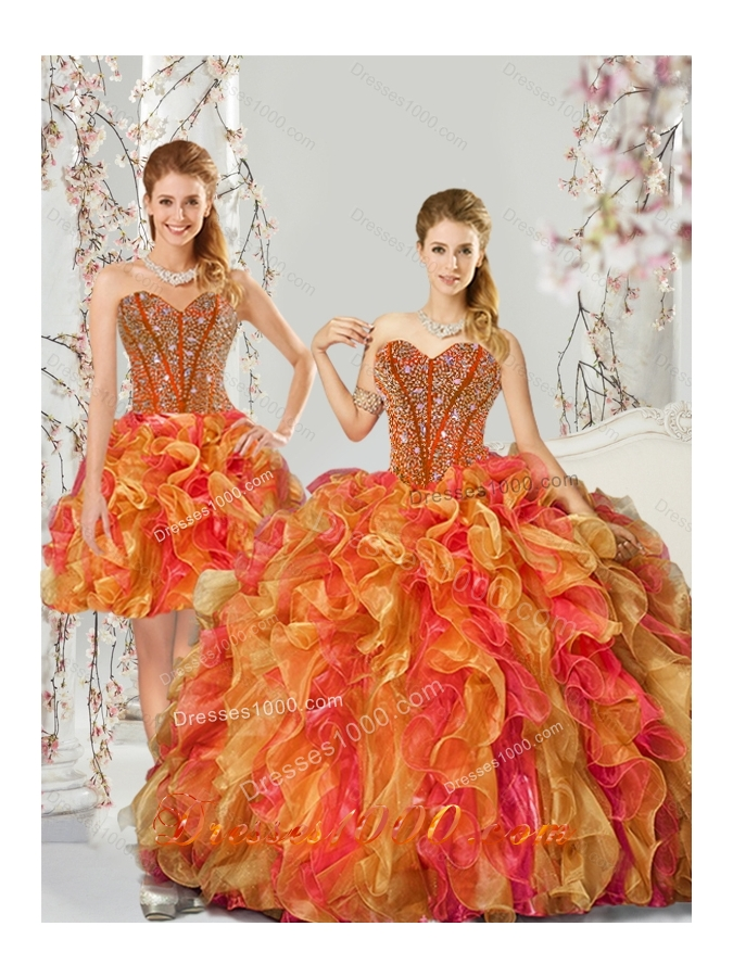 Detachable Beading and Ruffles Quinceanera Dresses in Multi Color