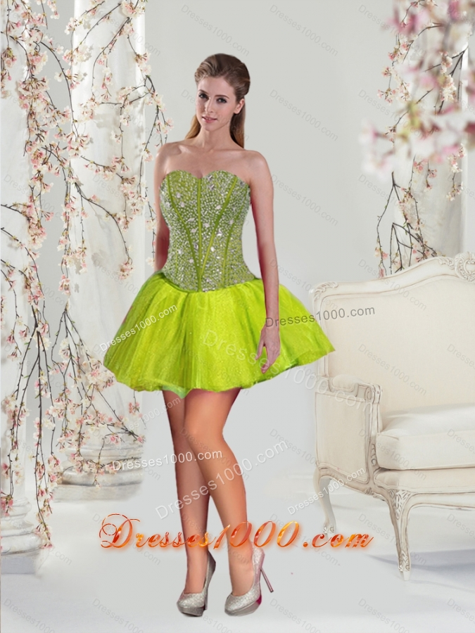 2015 Detachable and New Style Beading and Ruffles Yellow Green Dresses for Quince