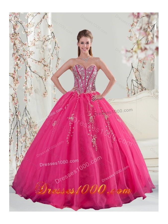 2015 Elegant Sweetheart Hot Pink Sequins and Appliques Prom Dresses