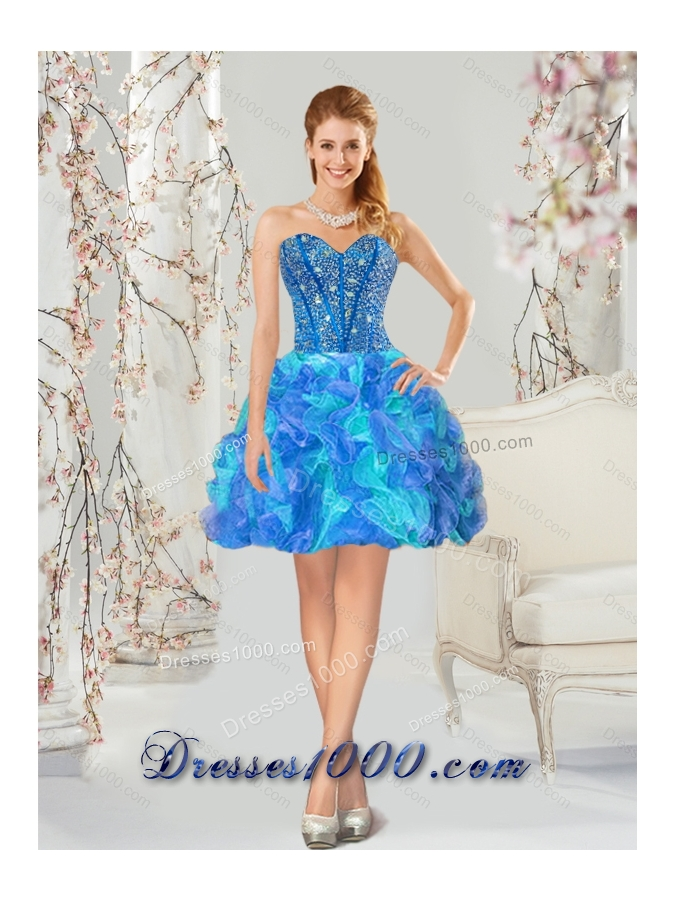 Detachable and Elegant Beading and Ruffles Multi Color Quinceanera Dresses for 2015