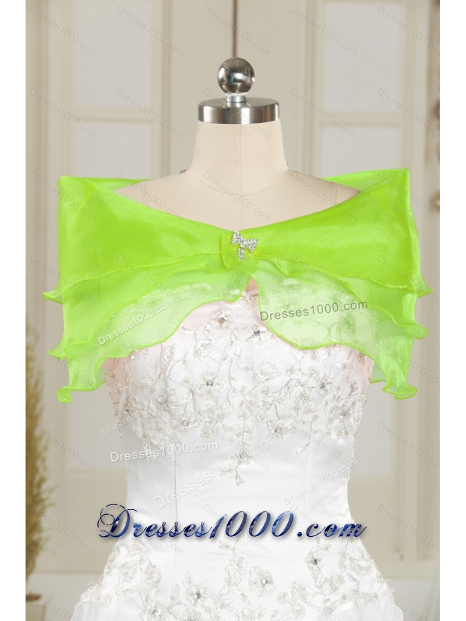 Detachable and Elegant Beading and Ruffles Quince Dresses in Green