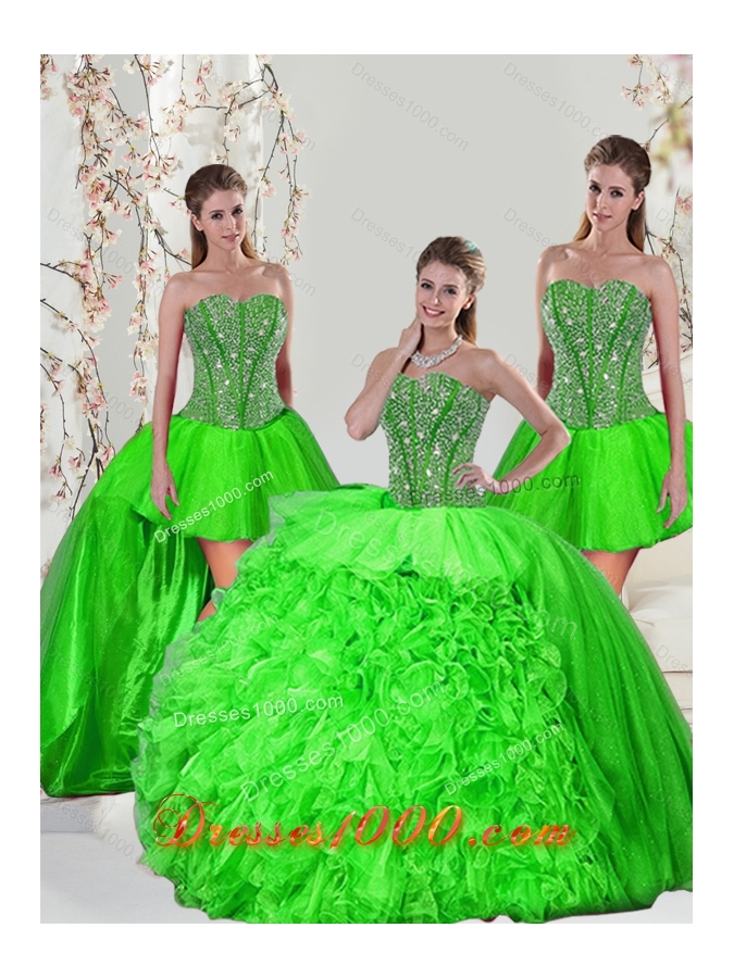 Detachable and Most Popular Beading and Ruffles Quince Dresses in Spring Green for 2015