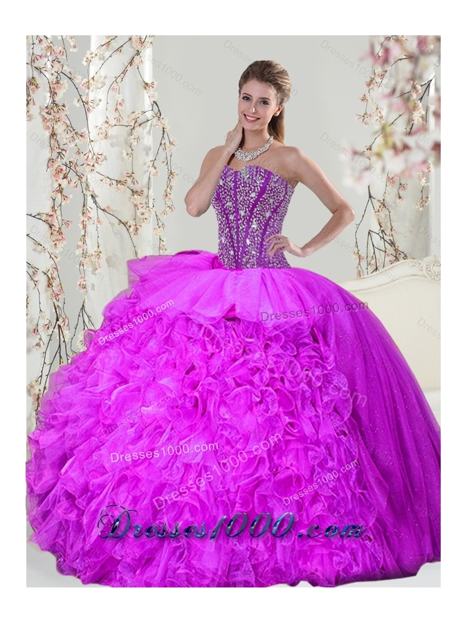 2015 Beading and Ruffles Fuchsia  Detachable and Vestidos de Quinceanera Dresses