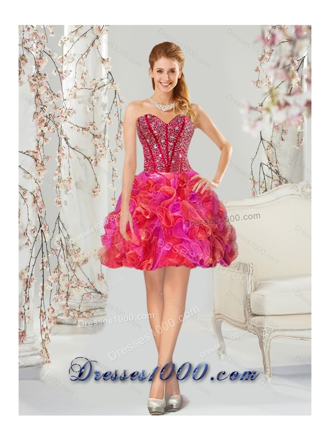 2015 Beading and Ruffles Multi Color Detachable and Vestidos de Quinceanera Dresses