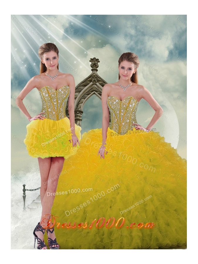 2015 Spring Yellow Detachable and Vestidos de Quinceanera Dresses with Beading and Ruffles