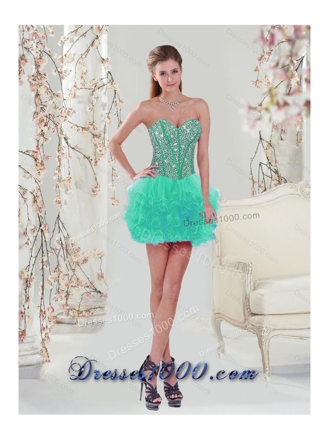 2015 Beading and Ruffles Detachable and Vestidos de Quinceanera Dresses