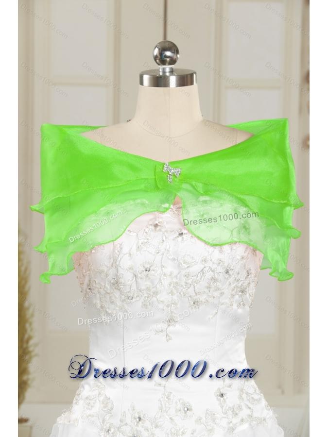 Wonderful Beading and Ruffles Spring Green Vestidos de Quinceanera Dresses