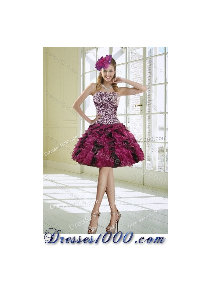 2015 Classical Strapless Multi Color Quinceanera Dress with Leopard Print