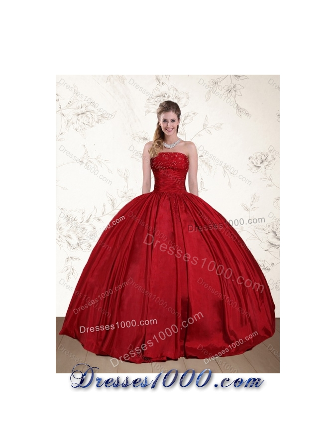 2015 Designer Strapless Beaded Quinceanera Dress in Red and Black
