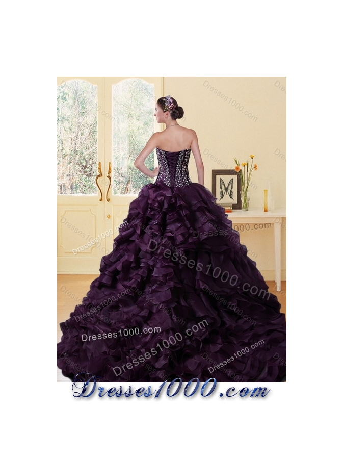 2015 Designer Sweetheart Burgundy Quinceanera Dress with Ruffles and Beading