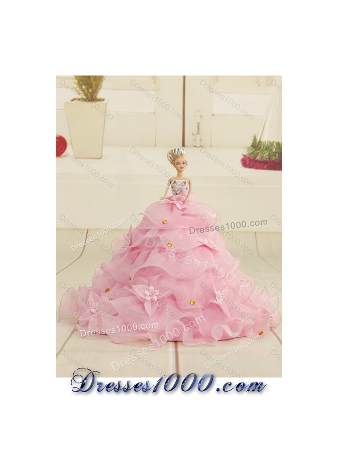 2015 GorgeousWatermelon Red Quinceanera Dresses with Appliques and Ruffles