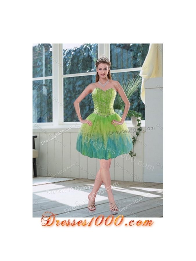 2015 The Super Hot Appliques and Ruffles Quince Dresses in Multi Color