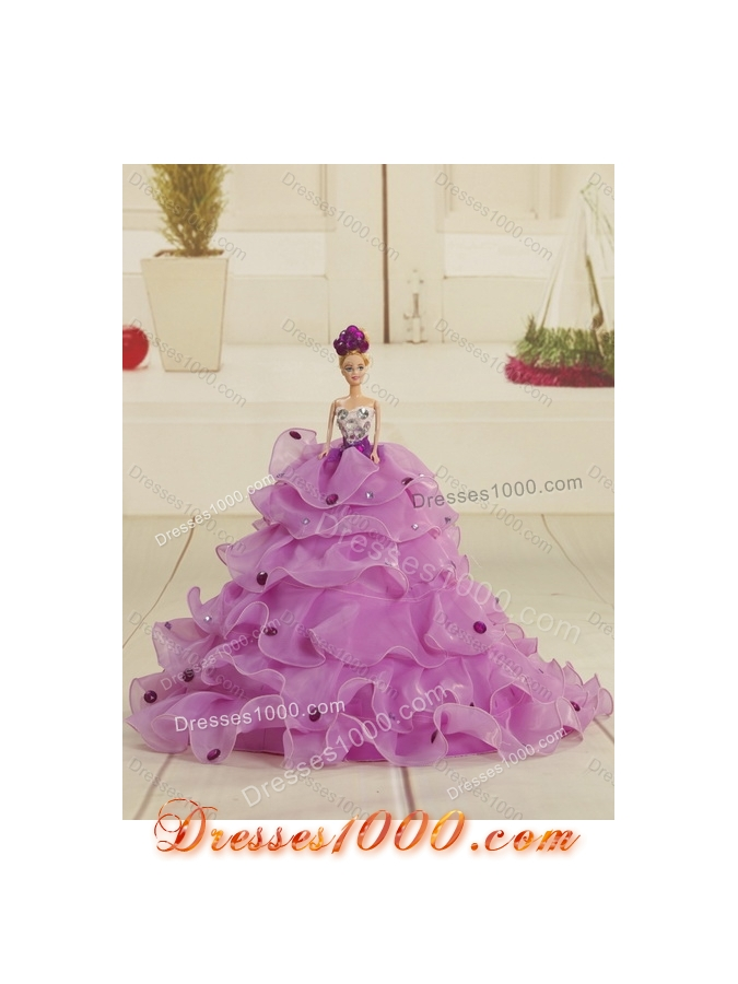 Designer Purple Strapless Appliques and Ruffles Quince Dresses for 2015