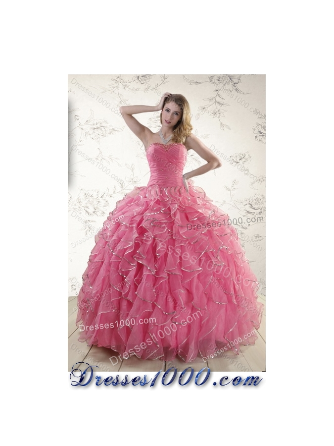 Designer Paillette Quince Dresses with Strapless for 2015