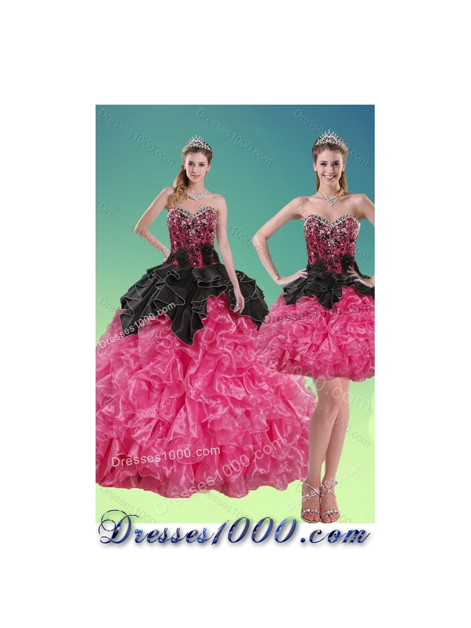 2015 New Style Beading and Ruffles Designer Quinceanera Dresses in Multi Color