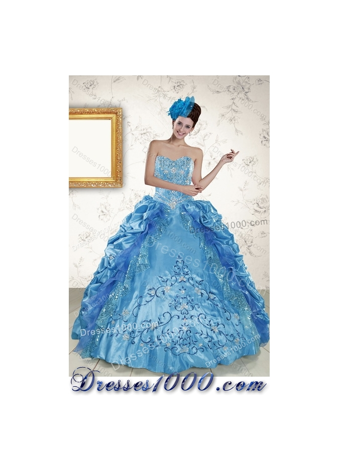 Beautiful Teal 2015 Quince Dresses with Embroidery and Pick Ups