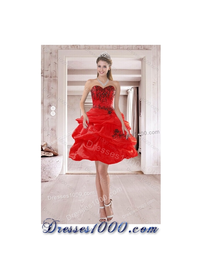 Detachable Beautiful Strapless Red Quinceanera Dresses with Appliques and Pick Ups