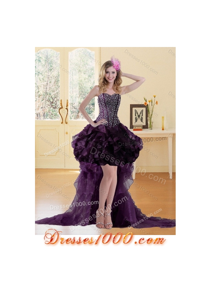 Detachable Sweetheart Quince Dress with Ruffles and Beading