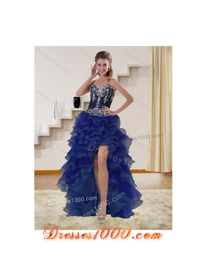 Detachable Navy Blue Sweetheart Quinceanera Dress with Embroidery and Ruffles